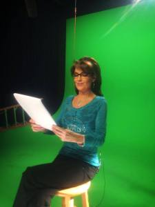 palin reading green screen