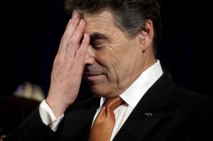 rick perry hand over face