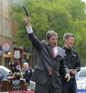 rick perry gun over head