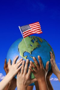 american flag globe
