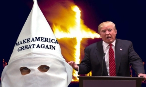 Image result for trump with burning cross