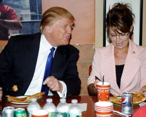 Former Governor of Alaska Sarah Palin, Donald Trump and Mrs Trump as they sit down  for Pizza at LaFamiglia restaurant  at West  50th and Broadway arrive , Manhattan for a chat with Donald Trump what is rumored to be her asking Donald to be her running mate in her bid to run for President.   Original Filename: DSC_0117A.jpg