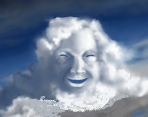 god laughing two clouds