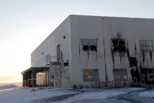 An overnight fire at Gov. Sarah Palin's church, Wasilla Assembly of God, caused an estimated $1 million in damage, and investigators say it could be the work of an arsonist, Saturday, December 13, 2008. (Stephen Nowers/Anchorage Daily News/MCT)