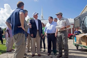 Republican presidential candidate Donald Trump tours the grounds of the Greenwell Springs Baptist Church in Greenwell Springs, La., Friday, Aug. 19, 2016, where they are distributing food and supplies to victims of the flood. (AP Photo/Max Becherer)
