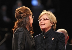 ST. LOUIS - OCTOBER 02:  Republican vice presidential candidate Alaska Gov. Sarah Palin (L) talks with her mother Sally Heath after the vice presidential debate with Democratic vice presidential candidate U.S. Senator Joe Biden (D-DE) at the Field House of Washington University's Athletic Complex on October 2, 2008 in St. Louis, Missouri. The highly anticipated showdown between the two vice-presidential candidates will be their only debate before the election. (Photo by Don Emmert-Pool/Getty Images) *** Local Caption *** Sally Heath;Sarah Palin