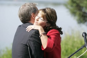 Alaska Gov. Sarah Palin hugs Alaska Lt. Gov. Sean Parnell after she announced she would be stepping down as Governor in Wasilla, Alaska on Friday July 3, 2009. The former Republican vice presidential candidate made the surprise announcement, saying she would step down July 26 but didn't announce her plans. (AP Photo/The Mat-Su Valley Frontiersman, Robert DeBerry) ** MANDATORY CREDIT: THE MAT-SU VALLEY FRONTIERSMAN, ROBERT DEBERRY; ANCHORAGE DAILY NEWS OUT **